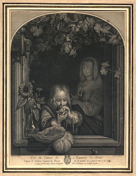 Blot after Mieris - Boy blowing bubbles